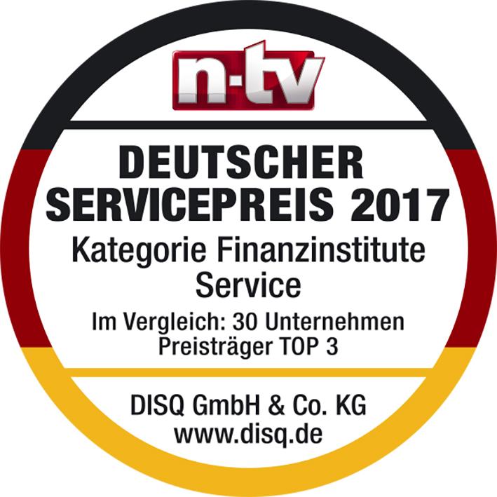 ACCEDO erhält Bester Service Finanzinsitute Auszeichnung. Deutscher Servicepreis 2017.