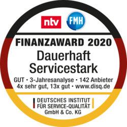 Finanz-Award 2020 – dauerhaft servicestark. Das Qaulitätssiegel, das besondere Servicequalität belohnt.